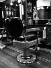 an old fashioned barber's chair