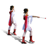 two majorettes with white dresses, red boots and s poster