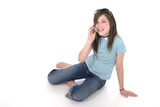 young teen girl talking on cellphone 2 poster