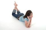 young teen girl talking on cellphone 5 poster