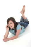 young teen girl talking on cellphone 7 poster