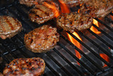 hamburgers on barbeque poster