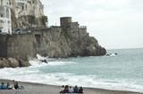 beach scenes, amalfi, italy poster