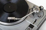 stylish turntable with disk (clipping path - yes) poster
