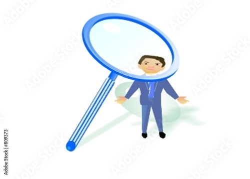 businessman under magnifying glass