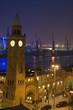Leinwanddruck Bild - hamburg landungsbrücken bei nacht