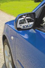 mirror blue car