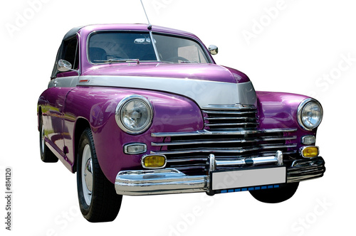 purple retro car isolated