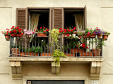 flowers on a balcony poster