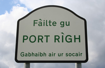 welcome to portree sign