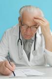 family doctor prescribing medication poster