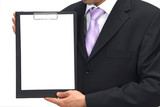 businessman with clipboard poster