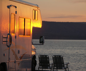 sunrise at the beach with the rv