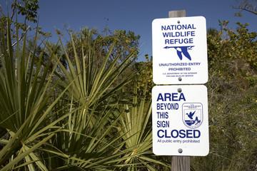 sign stating national wildlife refuge
