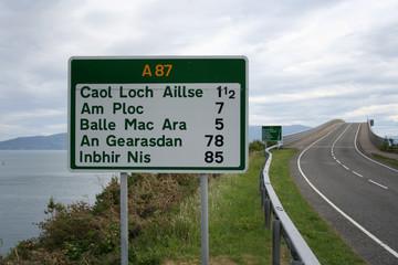 road sign beside skye bridge