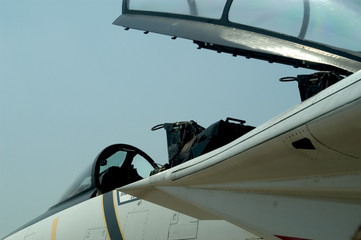 f-16 fighter jet - open canopy, closeup of cockpit
