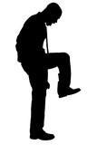 silhouette with clipping path of angry man stompin poster