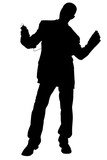 silhouette with clipping path of man in suit danci poster