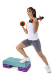 teen girl on aerobic step with hand weights poster