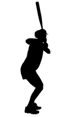 silhouette with clipping path of female softball p