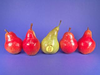 five organic pears (one green)