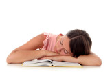 girl sleeping with her head on an open book poster