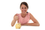 girl putting coin in piggy bank poster