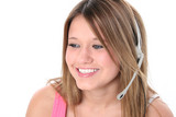 beautiful teen girl with headset over white poster