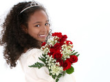 beautiful six year old girl with red roses in form poster