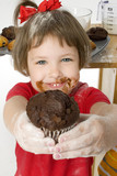 beautiful four year old girl with chocolate chip m poster