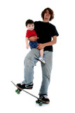 teen boy and toddler boy on skateboard poster