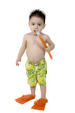 stock photography: toddler boy ready for the pool poster
