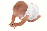 adorable baby girl crawling on floor poster