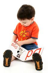 addorable toddler boy reading alphabet book
