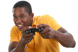 attractive young man with video game control pad poster