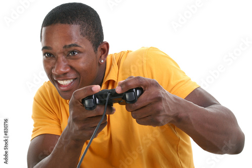 poster of attractive young man with video game control pad