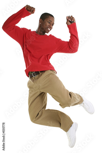 casual man jumping for joy with car keys