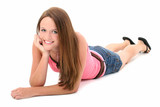 beautiful fourteen year old girl laying on floor poster