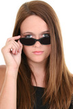 beautiful fourteen year old in black sunglasses poster