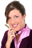 close up of beautiful businesswoman holding pen poster