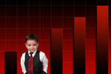 adorable toddler boy in suit standing against bar poster