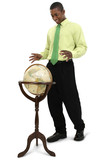 attractive businessman reaching for globe poster