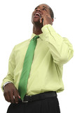 african american business man on cellphone poster