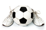 pair of sneakers and soccer ball poster