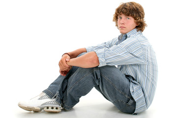 attractive sixteen year old teen boy in casual clo