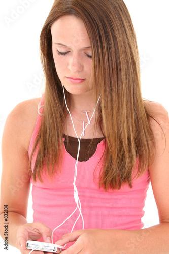 poster of beautiful teen girl listening to headphones