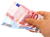 hand holding two euro notes (clipping path included) poster