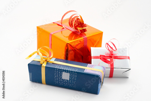 three gift boxes white background