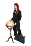 beautiful woman in suit with globe and briefcase poster