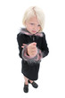 beautiful little girl with angry face and fist up wearing black